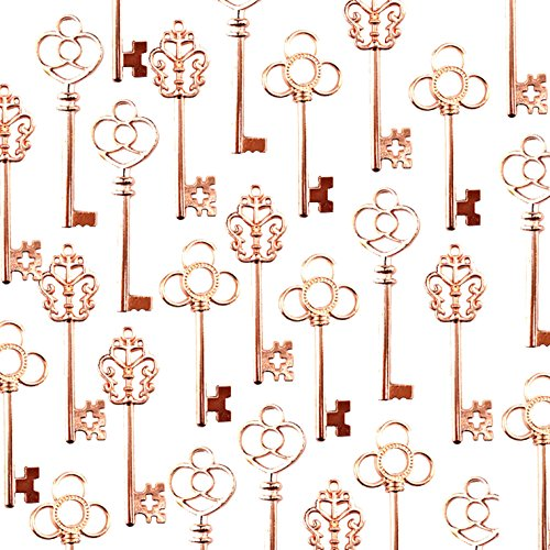Aokbean Vintage Skeleton keys in Rose Gold Style - Set of 30pcs (Rose Gold)