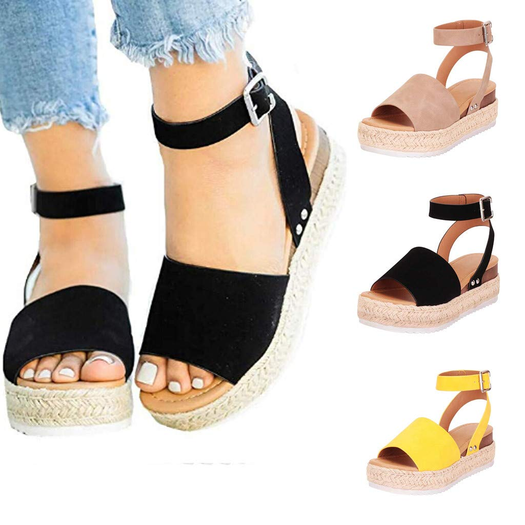 WugeshangmaoWomen's Sandals Summer,Wedges Sandals for Women,Teen Girls' Fashion Buckle Strap Retro Peep Toe Sandals Gray