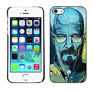 Slim Design Hard PC/Aluminum Shell Case Cover for Apple Iphone 5 / 5S Walter Blue Character Tv Show Chemist / JUSTGO PHONE PROTECTOR