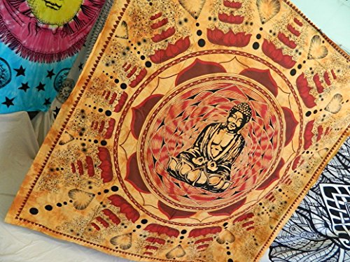 Buddha Meditation and Lotus Cotton Brown Wall Hanging Tapestry From India