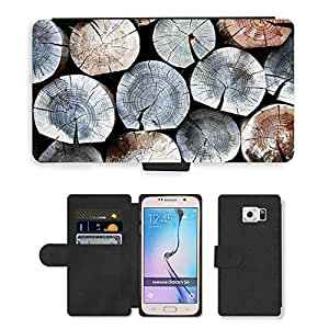 PU Cuir Flip Etui Portefeuille Coque Case Cover véritable Leather Housse Couvrir Couverture Fermeture Magnetique Silicone Support Carte Slots Protection Shell // M00155231 Antecedentes ingrese Zona Anual Leña // Samsung Galaxy S6 (Not Fits S6 EDGE)