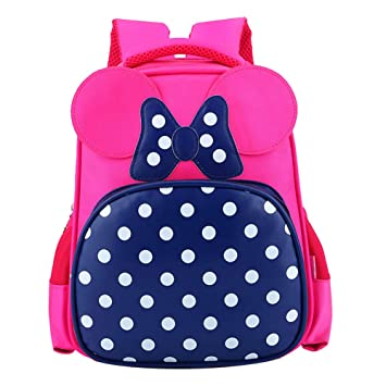 Kids School Bag Girls Backpack Children Cartoon Bowknot Kindergarten Book Bag