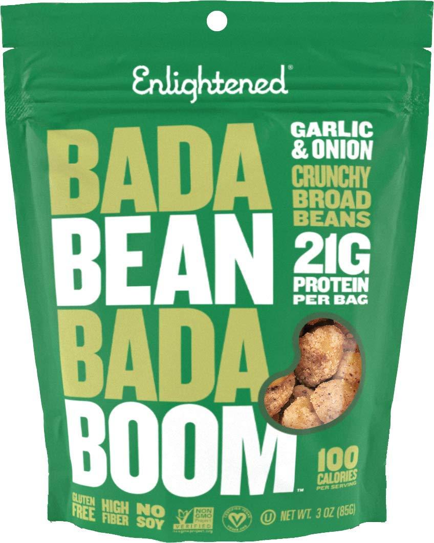 Enlightened Bada Bean Bada Boom Plant Protein Gluten Free Roasted Broad (Fava) Bean Snack, Garlic and Onion, 6 Count