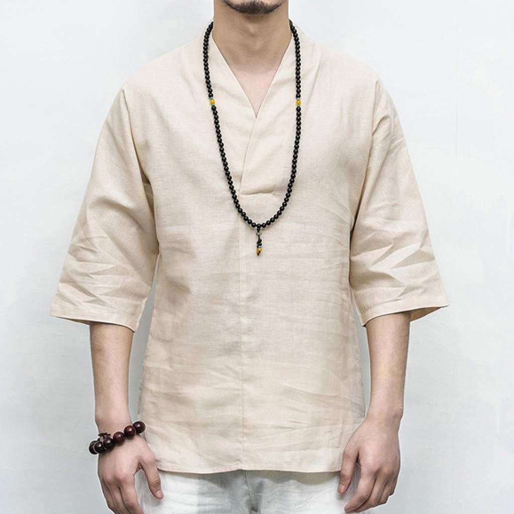 Men Linen Shirt Patchwork Seven Minute Sleeve Solid Loose V Neck Comfortable Classic T Shirt (M, Beige) by Pafei Men's shirts (Image #3)