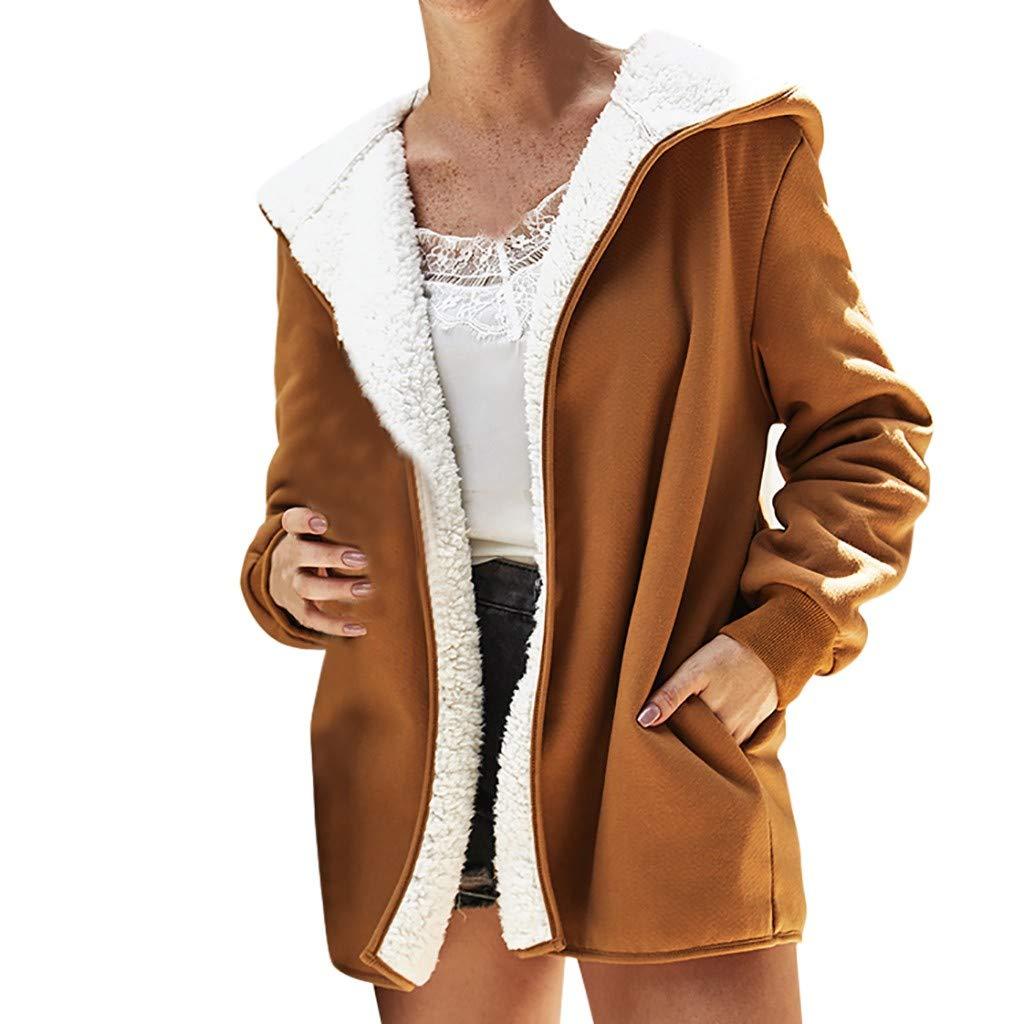 Fashionhe Women Warm Coat Hoodie Pullover Top Casual Loose Outwear Cardigan Coat Long Sleeve Blouse(Khaki.L)