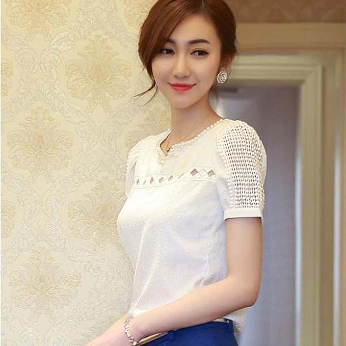 Toraway Blouses, Women Lace Summer Shirt V Neck Doll Chiffon Blouse Tops at Amazon Womens Clothing store: