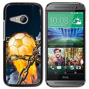 Balón de fútbol llameante - Metal de aluminio y de plástico duro Caja del teléfono - Negro - HTC ONE MINI 2 / M8 MINI