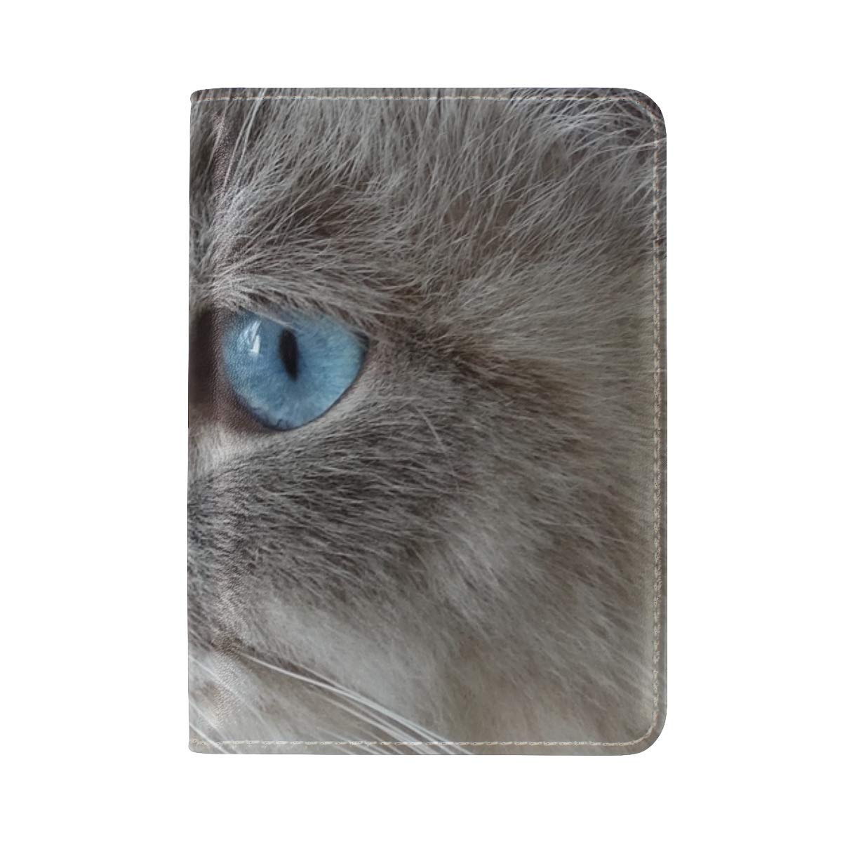Cat Face Fluffy Blue Eyed Leather Passport Holder Cover Case Travel One Pocket