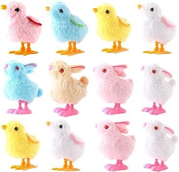 Toyandona 12 Piezas De Juguete De Cuerda Para Pollitos Y Conejos De Peluche Juguetes De Relojería De Animales De Pascua Favores Para Fiestas De Niños Color Aleatorio Amazon Es Juguetes Y Juegos