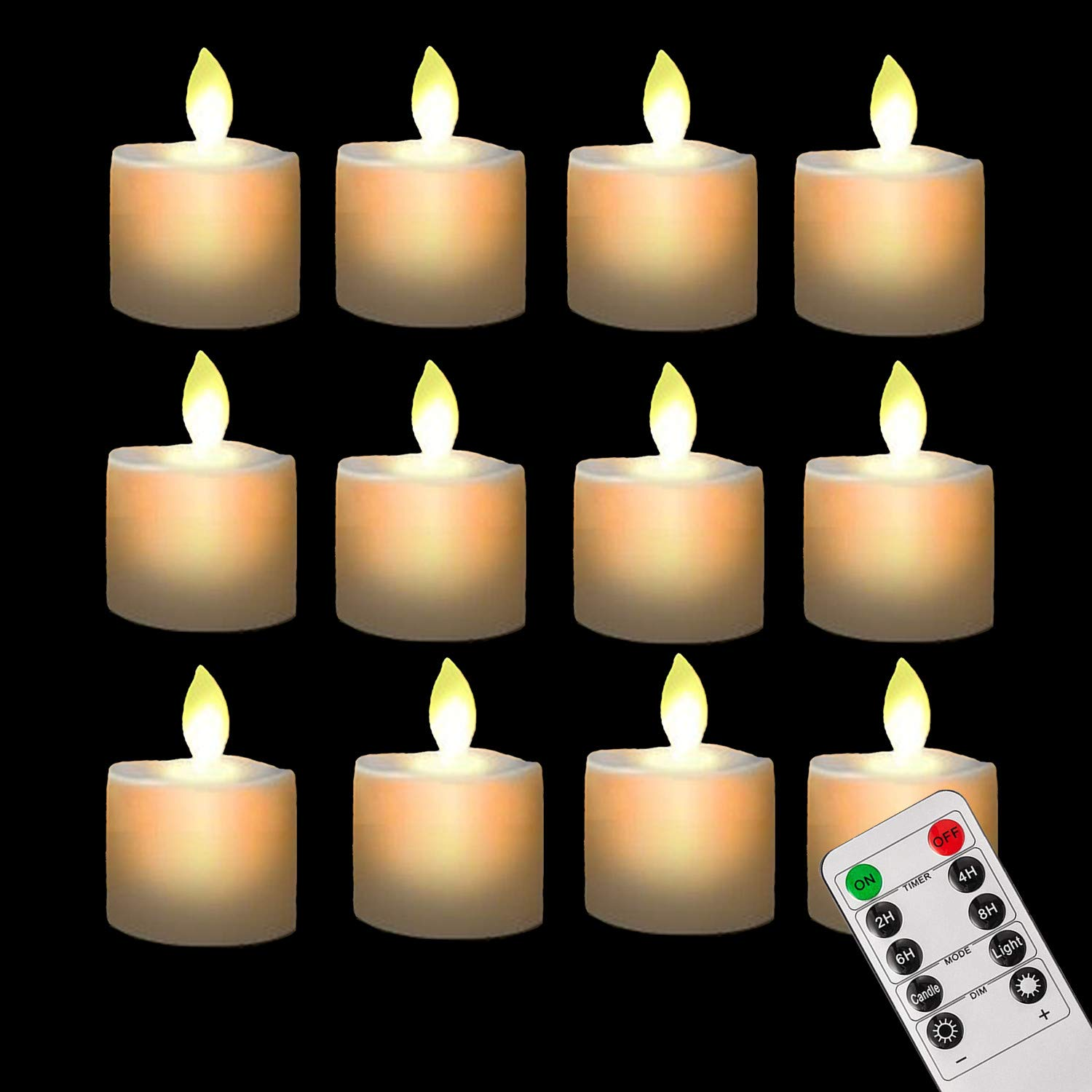 Pack of 12 Realistic and Bright Flickering Bulb Flameless LED Tea light Fake Flameless Candles with Timer,Battery Operated Warm White with Dancing Flickering Bulb for Christmas/Wedding/Birthday Party