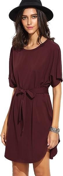 SheIn Damen Kleid Basic Kurzarm mit Gürtel T-Shirt Kleider