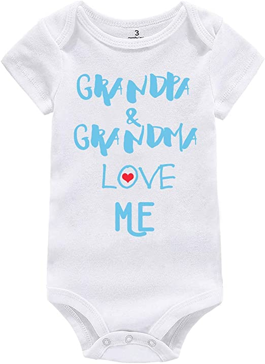 Comfy Boys Girls Baby Cotton I Love My Grandpa and Grandma Infant s White
