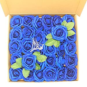 Artificial Flower Rose,30pcs Real Touch Artificial Foam Roses +15pcs Flower Pins Decoration DIY for Wedding Bridesmaid Bridal Bouquet Centerpieces Party 42
