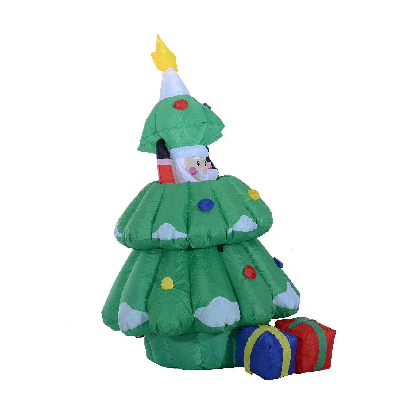 HOMCOM Christmas Inflatable Decoration Santa Claus Hidden into Xmas ...