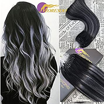 Moresoo 14 50g ombre micro ring hair extensions full head dip dye moresoo 14quot 50g ombre micro ring hair extensions full head dip dye two tone pmusecretfo Choice Image