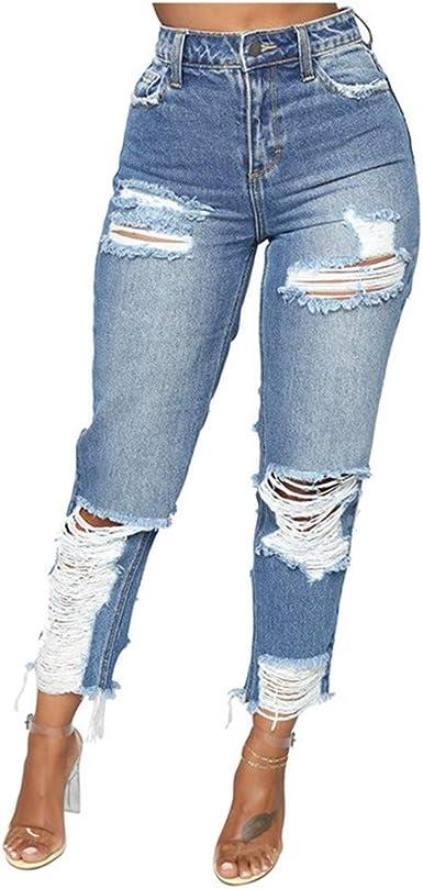 HOUMENGO Vaqueros Jeans Push up, Pantalones de Mujeres de Algodón Slim Ripped Hole Gradient Jeans de Cintura Alta Delgados Denim Leggins Yoga Skinny Pantalón de Mezclilla Rasgado Cintura elástica: Amazon.es: Ropa y