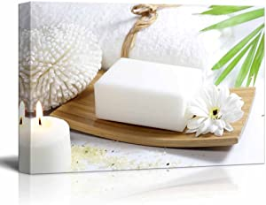 """wall26 Relaxing Spa Counter with White Soap Burning Candles and Blooming Flower - Canvas Art Wall Art - 12"""" x 18"""""""
