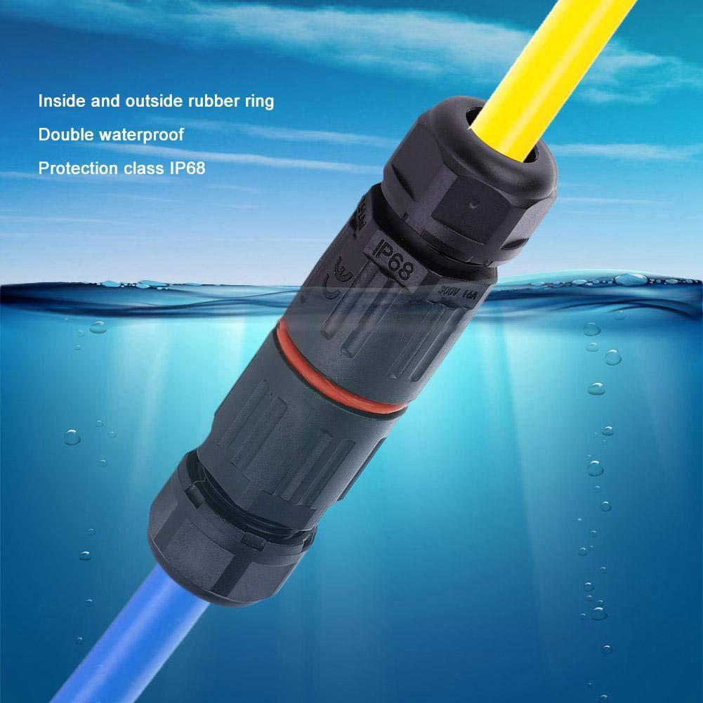 Conector a prueba de agua de 10 piezas cable de cable el/éctrico a prueba de agua IP68 Conector a prueba de agua de 3 pines Enchufe al aire libre