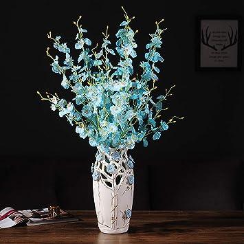 GuanJer Artificial Flor Falsa florero de cerámica arreglo Floral Moderno nostálgico salón Hotel gres decoración Adornos (Color : Azul): Amazon.es: Hogar