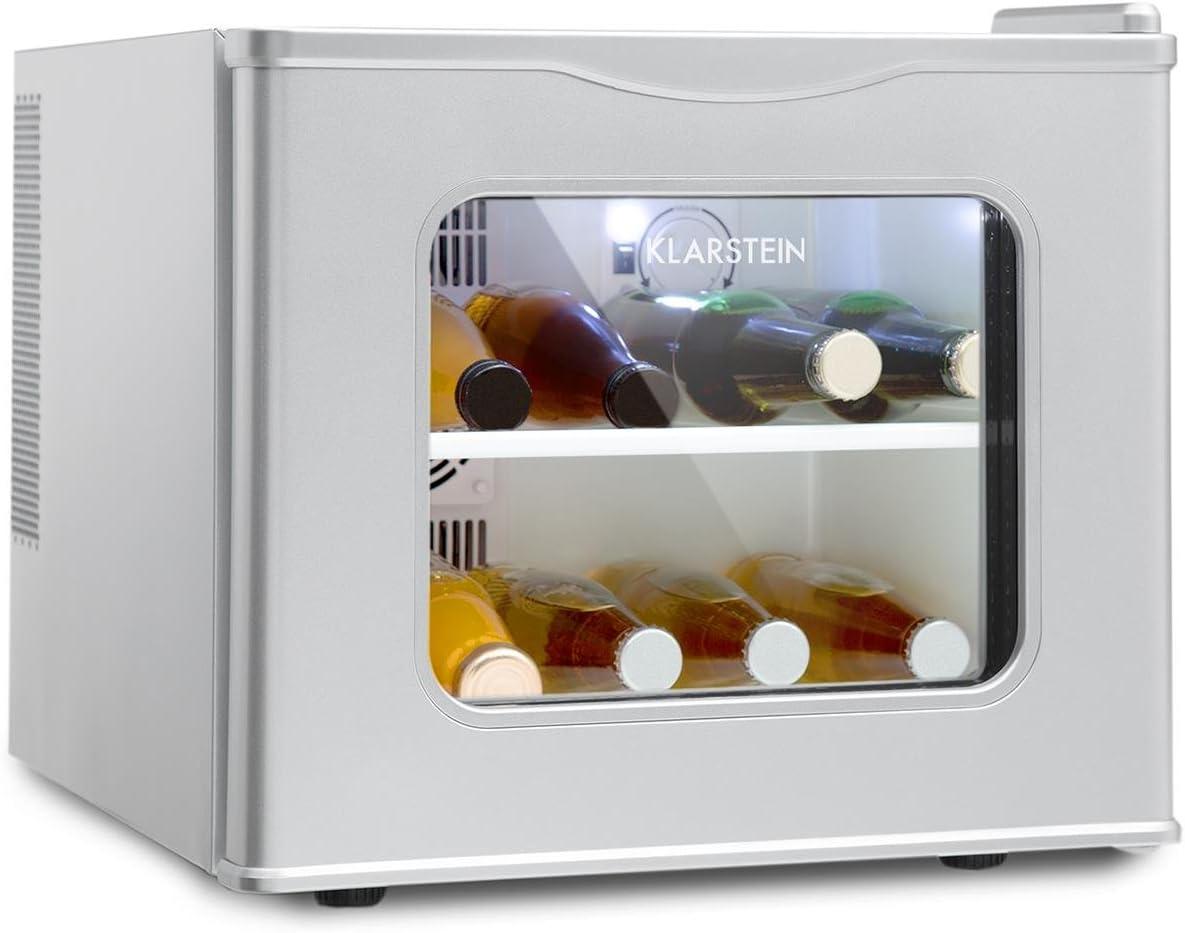 Klarstein Winehouse Minibar - Vinoteca, Nevera de Bebidas y tentempiés, 17 L, Silenciosa 38 dB, 8 a 18 °C, Refrigerador bajo Consumo 60 W, Acero Inoxidable, Plateado