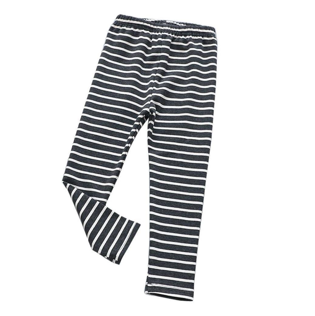 Koly Pantalones Pantalones Leggings La impresión de la raya embroma a las niñas largas Pantalones lápiz Bebé de Footies pantalon bebropa de bebe niño baby's pants