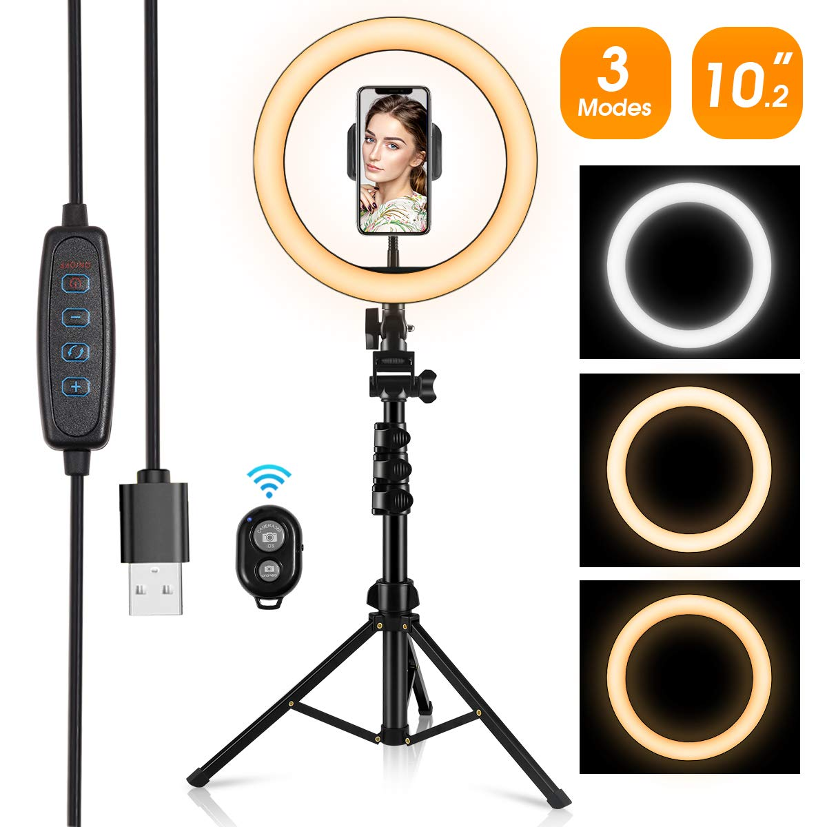 """Ring Light,10.2"""" LED Ring Light with Stand and Phone Holder,Adjustable Bracket(16.56'' to 53.5''),3 Light Modes 10 Brightness,Selfie Dimmable Ringlight for YouTube Video/Live Stream/Makeup/Photography"""