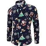 ♚ Blusa navideña para Hombre, Hombre muñeco de Nieve Estampado Camisa de Navidad de Manga Larga Blusa Superior Delgada Absolute
