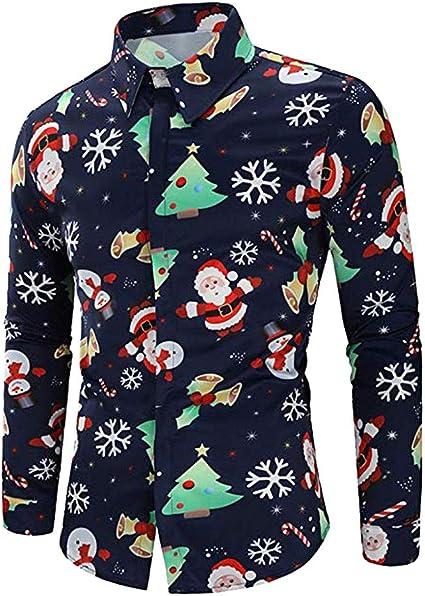 Camisa navideña de Hombre Hombres Casual Copos de Nieve Papá Noel Estampado Camisa de Navidad Top Blusa Camisa Delgada Vestir: Amazon.es: Ropa y accesorios