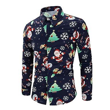 Camisas de Hombre Rovinci Casual Otoño Invierno 3D Navidad Papá Noel Muñeco de Nieve Árbol de