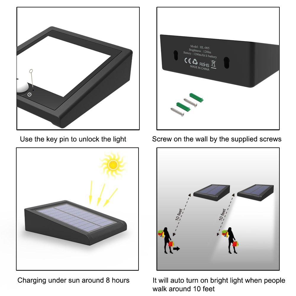 Mulcolor 4 Pack Solar Lights, Brightest 30 LED Solar Motion Sensor Light Outdoor Wireless Waterproof Solar Powered Security Light with Auto On/Off for Garden, Patio and Pathway by Mulcolor (Image #7)