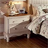 Two-Drawer Nightstand With Antique White Finish And Rope Details