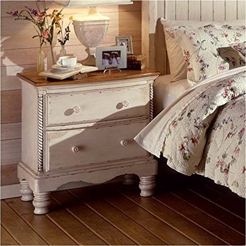 Two-Drawer Nightstand With Antique White Finish And Rope Details by Hillsdale Furniture