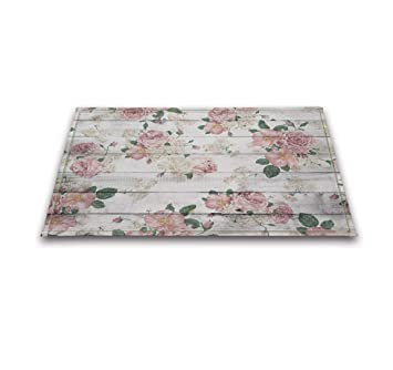 Amazon Lb Pink Flower On Rustic Wood Panel Print Bath Rugs For
