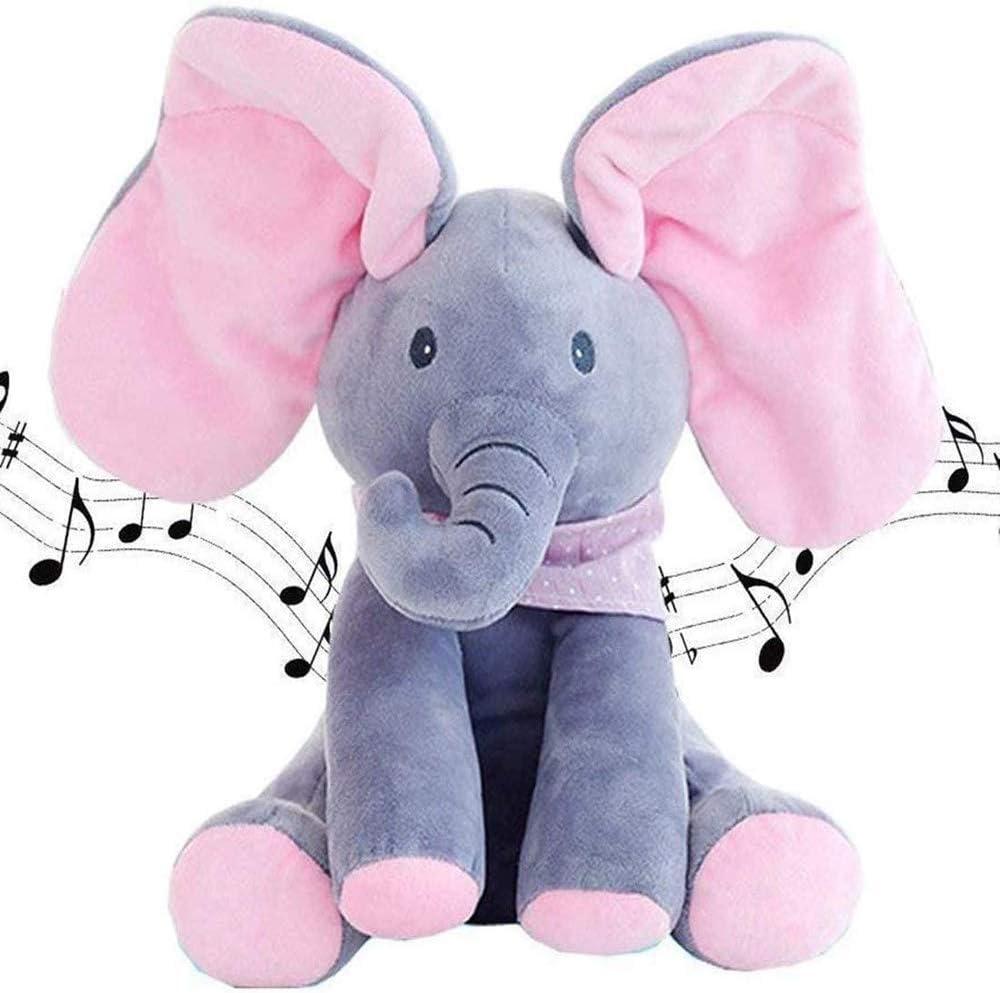 Peek-A-Boo Elefante,DE Peluche Juguete Interactivo Canciones De Canto MúSica Felpa Elefante Animal De Peluche Elefante Juguete,Peluche para NiñOs MuñEca De Regalo 30cm/ Rosa