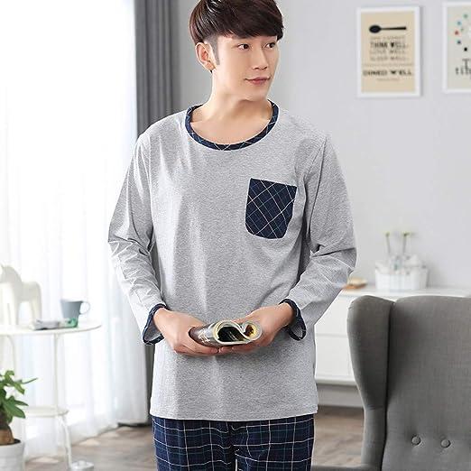 HIUGHJ Pijamas Conjunto de Pijamas de algodón para Hombre, Color ...