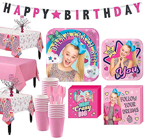 Party City JoJo Siwa Basic Party Kit and Supplies for 24 Guests, Includes Table Covers, Spray Centerpiece, Banner
