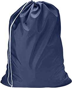 Nylon Laundry Bag - Locking Drawstring Closure and Machine Washable. These Large Bags Will Fit a Laundry Basket or Hamper and Strong Enough to Carry up to Three Loads of Clothes. (Navy Blue)