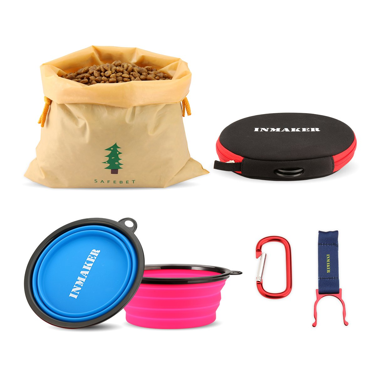 INMAKER Dog Travel Bowl with Dog Food Bag, Travel Suit with 2 FDA Approved Silicone Bowls for Dog Cat (bluee and Pink Large Size)