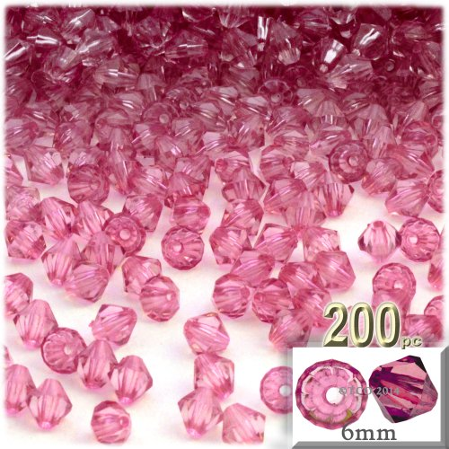 The Crafts Outlet, 200-pc Acrylic Bicone Beads, Faceted, 6mm, Pink