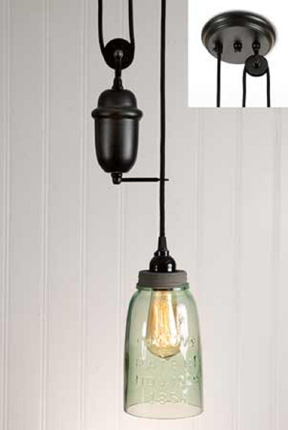 CTW Half Gallon Mason Jar Pulldown Pendant Lamp - Barn Roof Lid