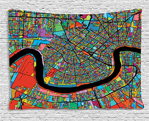 Ambesonne New Orleans Tapestry, Colorful Map of City with Mississippi River Districts and Highways New Orleans, Wall Hanging for Bedroom Living Room Dorm, 60 W X 40 L Inches, -