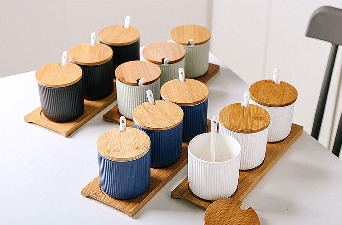 VanEnjoy Ceramic Sugar Spice Containers Porcelain Jar with Bamboo Lids Stripe Green Tray and Spoons Round Condiment Jar for Home Set of 3