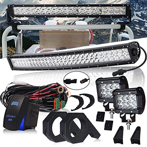 (DOT 22 Inch 120W Curved LED light bar + 2PCS 4 In 36W Triple Row Cube Pods Driving Lights + Horizontal Bull Bar Tube Clamp Mounting Kit 1