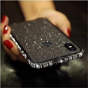 Bling Diamond Metal Bumper Case Glitter Sticker for iPhone 7 3D Bling Glitter Sparkly Luxury Rhinestone Jeweled Edge Frame for Woman Girls - Black
