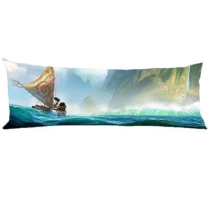 Scroped-Boyd Moana Landscape Sea Boat Fantas Body Pillow Cover Decorative Pillowcase Zipper 21x60 Inch