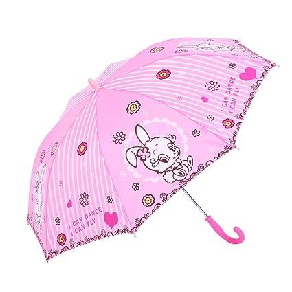 Umbrella Paraguas Infantil para Niños y Mujeres con Manilla Doble para bebé, Diseño de Princesa