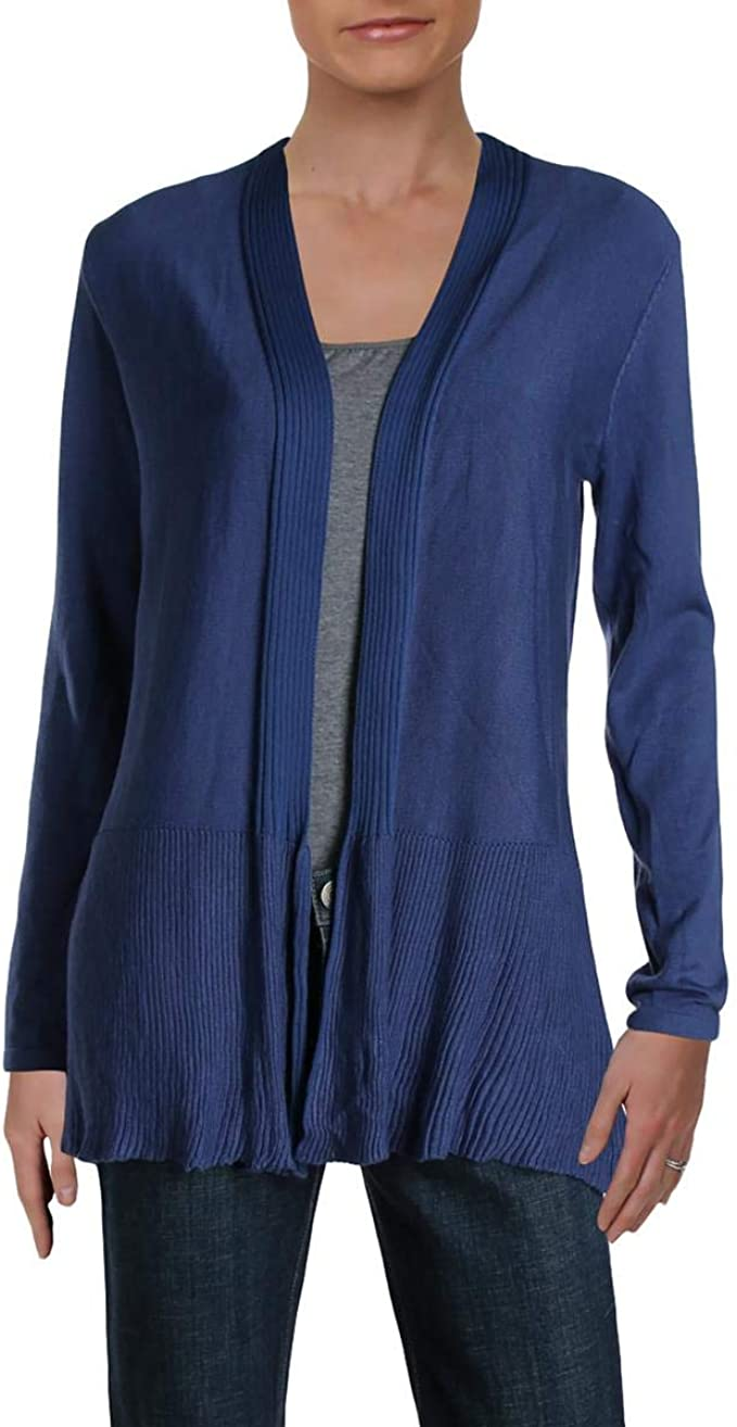 Vila Milano Womens Ribbed Open Front Cardigan Sweater Blue S