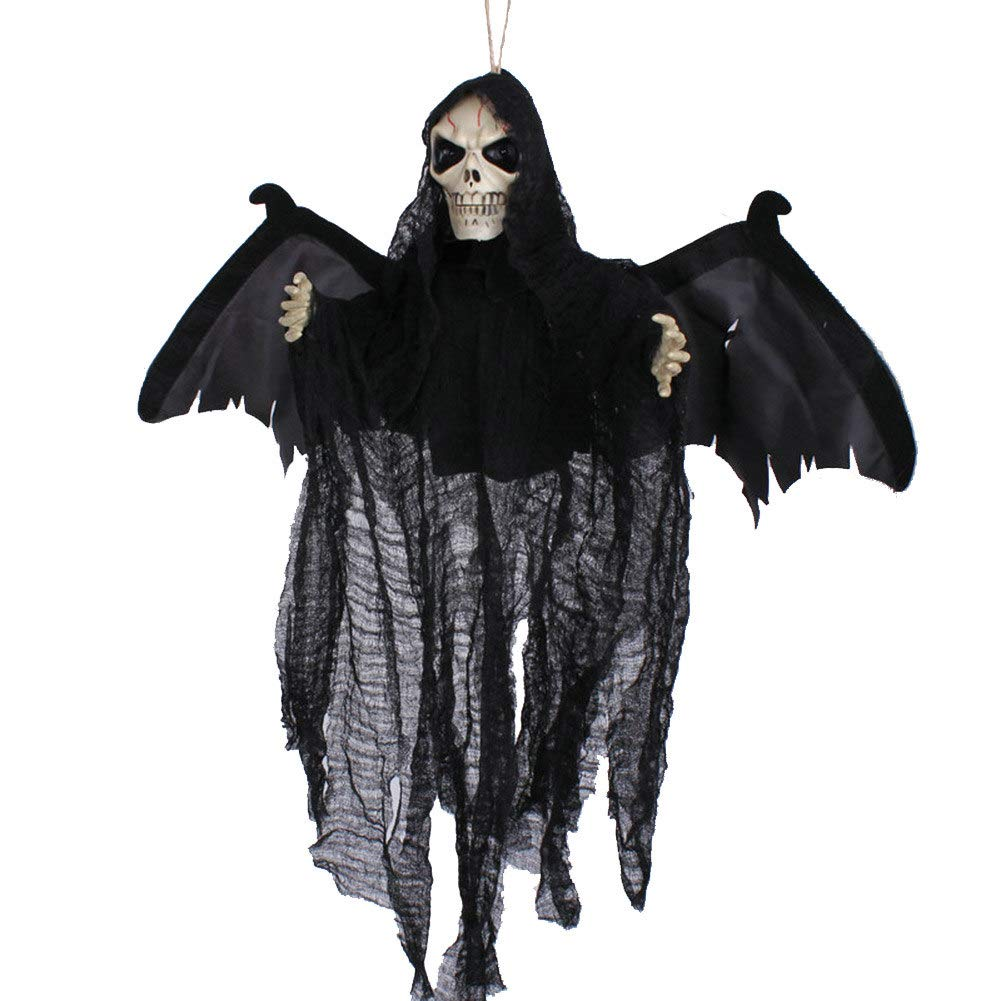 Chutoral Halloween Decorations Floating Ghoul Ghost Skeleton Grim Reaper Skull with Shine Eyes Moving Wings and Ghost Sound'(no Battery)(Black)