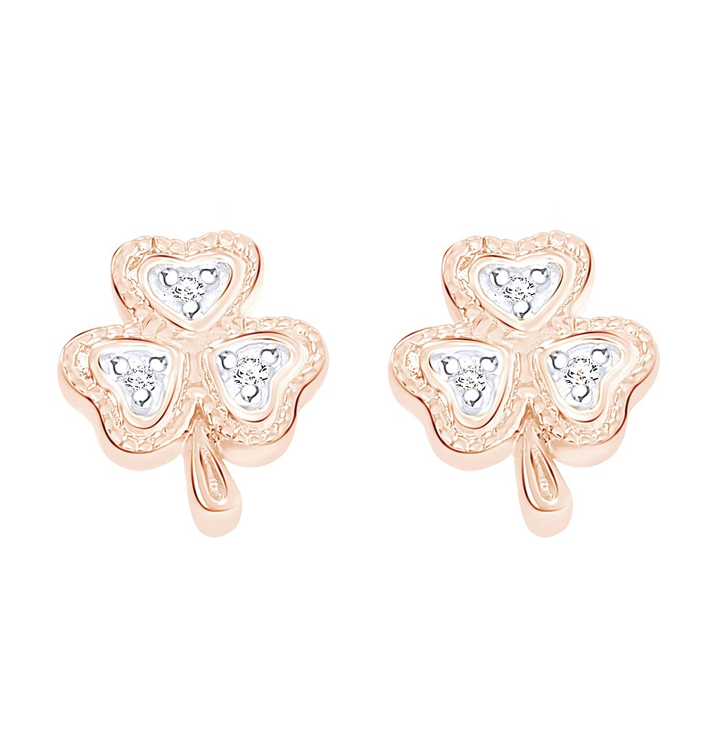 Round Cut White Natural Diamond Accent Lucky Clover Shamrock Stud Earrings in 10K Solid Rose Gold