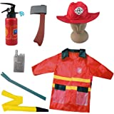 Liberty Imports Fire Fighter Chief Role Play Costume Set | Kids Fireman Dress Up Pretend Play Outfit with Rescue Tools and Accessories (7 Pcs)